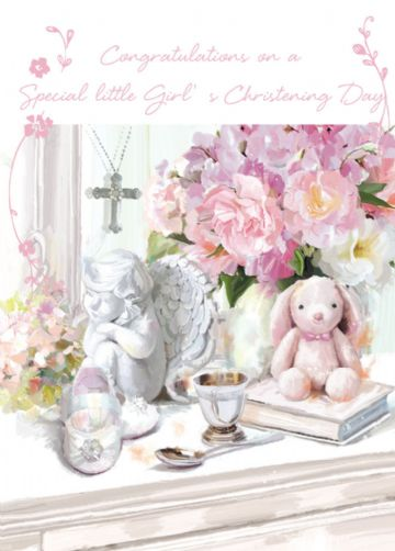 "CHRISTENING CARD BABY GIRL ""HER CHRISTENING DAY"" SIZE 4.75 X 6.75 INCH GHCH115"